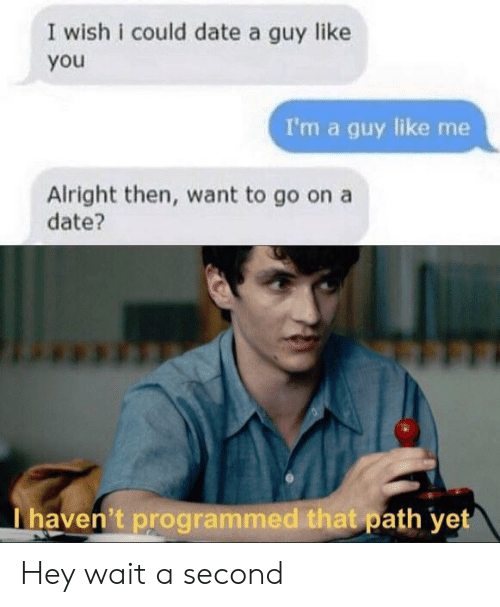 Programmed: I wish i could date a guy like  you  I'm a guy like me  Alright then, want to go on a  date?  I haven't programmed that path yet Hey wait a second