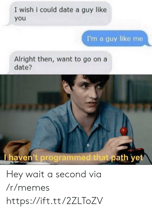 Programmed: I wish i could date a guy like  you  I'm a guy like me  Alright then, want to go on a  date?  I haven't programmed that path yet Hey wait a second via /r/memes https://ift.tt/2ZLToZV