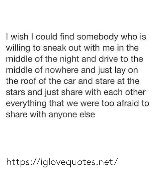 middle of nowhere: I wish I could find somebody who is  willing to sneak out with me in the  middle of the night and drive to the  middle of nowhere and just lay on  the roof of the car and stare at the  stars and just share with each other  everything that we were too afraid to  share with anyone else https://iglovequotes.net/