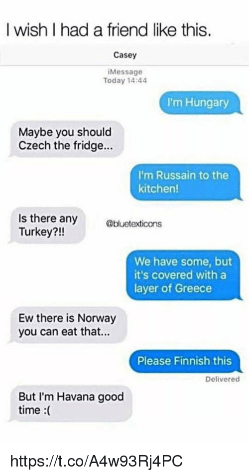Memes, Good, and Greece: I wish I had a friend like this.  Casey  Message  Today 14:44  I'm Hungary  Maybe you should  Czech the fridge...  I'm Russain to the  kitchen!  Is there any  Turkey?!!  @bluetexticons  We have some, but  it's covered with a  layer of Greece  Ew there is Norway  you can eat that...  Please Finnish this  Delivered  But I'm Havana good  time :( https://t.co/A4w93Rj4PC