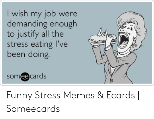 Funny Stress Memes: I wish my job were  demanding enough  to justify all the  stress eating I've  been doing.  someecards Funny Stress Memes & Ecards | Someecards