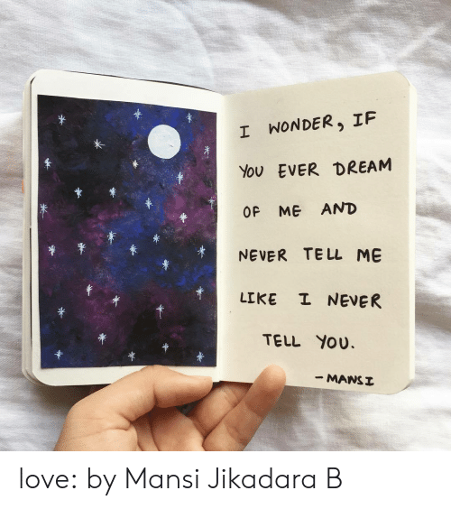 Instagram, Love, and Target: *  I WONDER, IF  EVER DREAM  You  OF ME AND  TE LL ME  NEVER  I NEVER  LIKE  TELL YOU  - MANSI love:  by Mansi Jikadara B