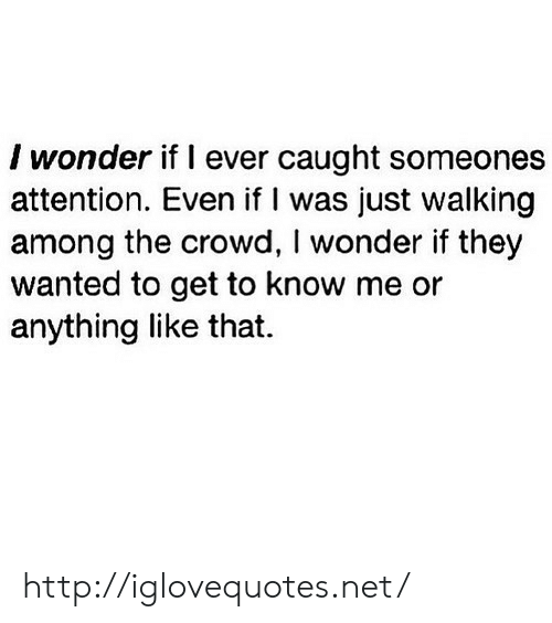 get to know me: I wonder if l ever caught someones  attention. Even if I was just walking  among the crowd, I wonder if they  wanted to get to know me or  anything like that. http://iglovequotes.net/