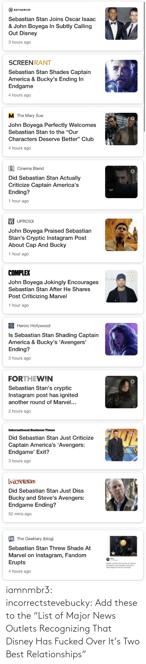 "list: iamnmbr3:  incorrectstevebucky: Add these to the ""List of Major News Outlets Recognizing That Disney Has Fucked Over It's Two Best Relationships"""
