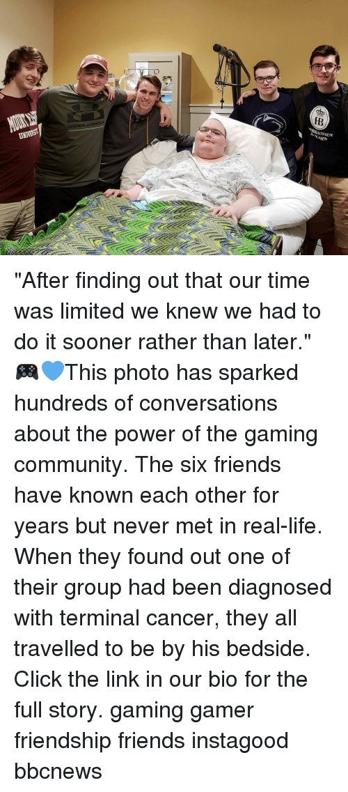 """Click, Community, and Friends: IB  BRAUHAUS """"After finding out that our time was limited we knew we had to do it sooner rather than later."""" 🎮💙This photo has sparked hundreds of conversations about the power of the gaming community. The six friends have known each other for years but never met in real-life. When they found out one of their group had been diagnosed with terminal cancer, they all travelled to be by his bedside. Click the link in our bio for the full story. gaming gamer friendship friends instagood bbcnews"""