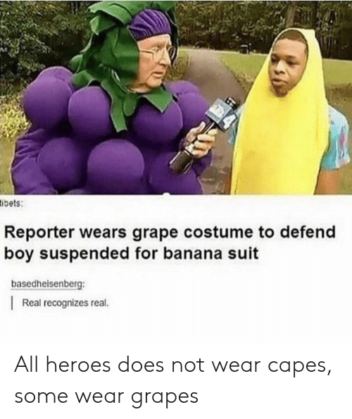 Tumblr, Banana, and Heroes: ibets  Reporter wears grape costume to defend  boy suspended for banana suit  basedhelsenberg:  Real recognizes real. All heroes does not wear capes, some wear grapes
