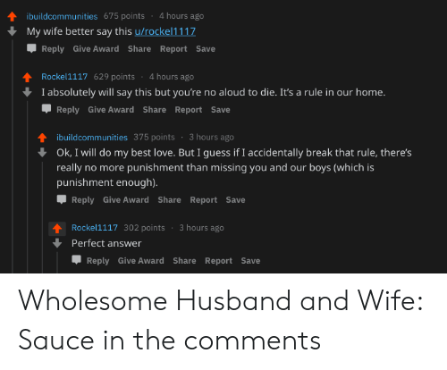 Hours ago video comment wife #1