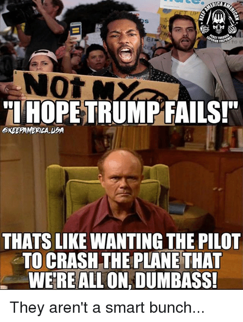 Memes, 🤖, and Crash: ICA  Not  TIHOPE TRUMPFAILSI  OKEEFAMERICA. UBA  THATS LIKE WANTING THE PILOT  TO CRASH THE PLANE THAT  WERE ALL ON, DUMBASS They aren't a smart bunch...