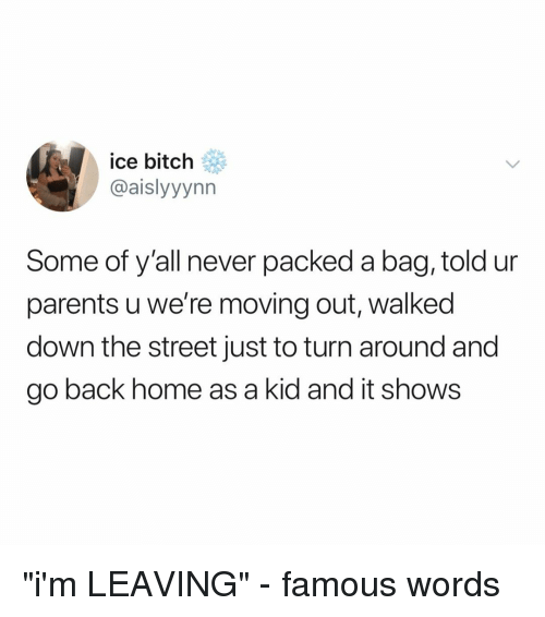 "Bitch, Parents, and Home: ice bitch  @aislyyynn  Some of y'all never packed a bag, told ur  parents u we're moving out, walked  down the street just to turn around and  go back home as a kid and it shows ""i'm LEAVING"" - famous words"