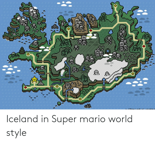 Mario: Iceland in Super mario world style