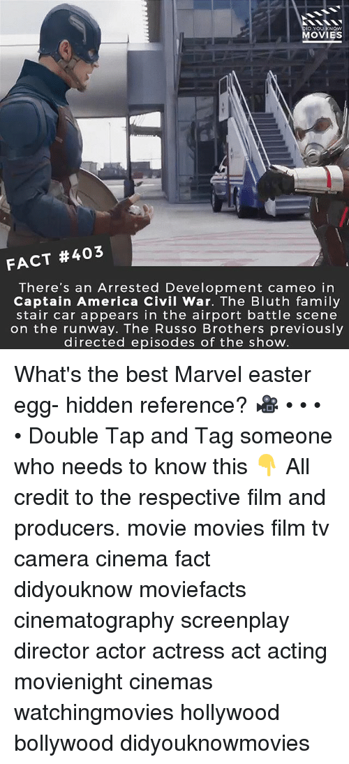 America, Captain America: Civil War, and Easter: ID YOU KNOW  MOVIES  FACT #403  There's an Arrested Development cameo in  Captain America Civil War. The Bluth family  stair car appears in the airport battle scene  on the runway. The Russo Brothers previously  directed episodes of the show What's the best Marvel easter egg- hidden reference? 🎥 • • • • Double Tap and Tag someone who needs to know this 👇 All credit to the respective film and producers. movie movies film tv camera cinema fact didyouknow moviefacts cinematography screenplay director actor actress act acting movienight cinemas watchingmovies hollywood bollywood didyouknowmovies