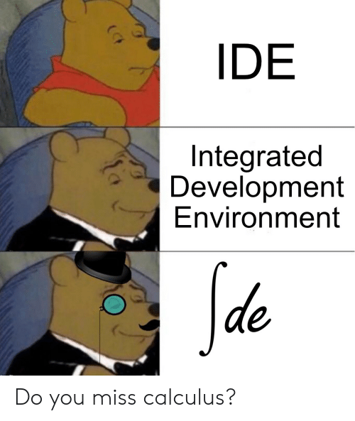 Calculus, Ide, and You: IDE  Integrated  Development  Environment  Sde Do you miss calculus?