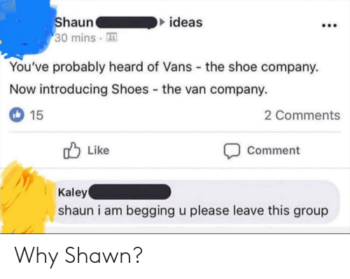 Shoes, Vans, and Company: ideas  haun  30 mins A  You've probably heard of Vans the shoe company.  Now introducing Shoes the van company.  2 Comments  15  Comment  Like  Kaley  shaun i am begging u please leave this group Why Shawn?