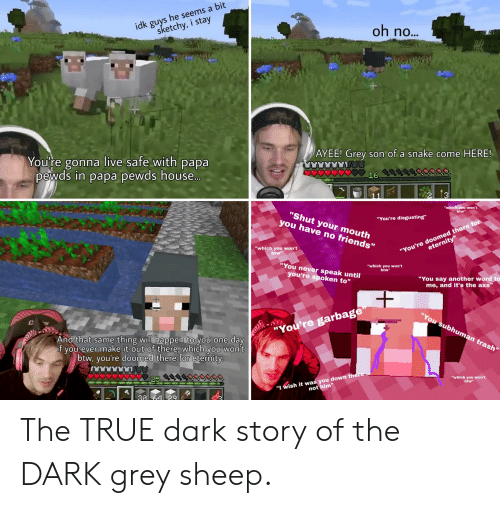 """Ayee: idk guys he seems a bit  sketchy, i stay  oh no...  AYEE! Grey son of a snake come HERE!  You're gonna live safe with papa  pewds in papa pewds house..  18  """"which you won't  btw""""  """"Shut your mouth  you have no friends""""  """"You're disgusting""""  """"You're doomed there for  eternity""""  """"which you won't  btw  """"You never speak until  """"which you won't  btw  you're spoken to""""  """"You say another word to  me, and it's the axe""""  """"You subhuman trash  C  """"You're garbage  And that same thing will happen to you one  day  if you ever make it out of there, which you won't  btw, you're doomed there for eternity.  """"I wish it was you down there  not him""""  """"which you won't  btw""""  30 64 29 The TRUE dark story of the DARK grey sheep."""