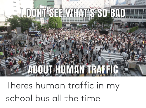 Bad, School, and Traffic: IDONT SEE WHATS SO BAD  ABOUT HUMAN TRAFFIC Theres human traffic in my school bus all the time
