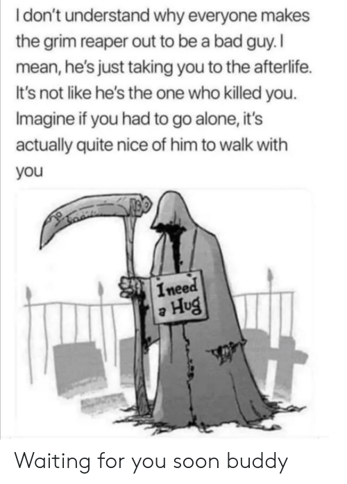 bad guy: Idon't understand why everyone makes  the grim reaper out to be a bad guy. I  mean, he's just taking you to the afterlife.  It's not like he's the one who killed you.  Imagine if you had to go alone, it's  actually quite nice of him to walk with  you  Ineed  Hug Waiting for you soon buddy