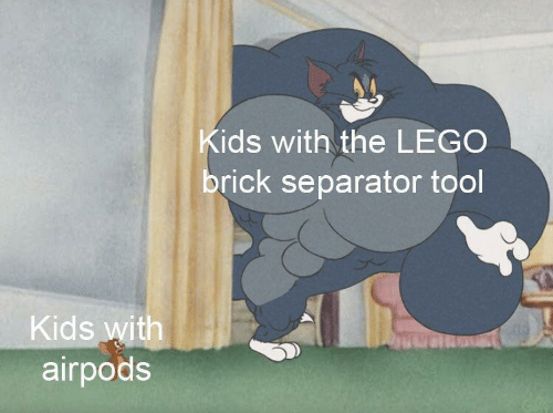 Lego, Kids, and Tool: ids with the LEGO  brick separator tool  Kids v  airpods