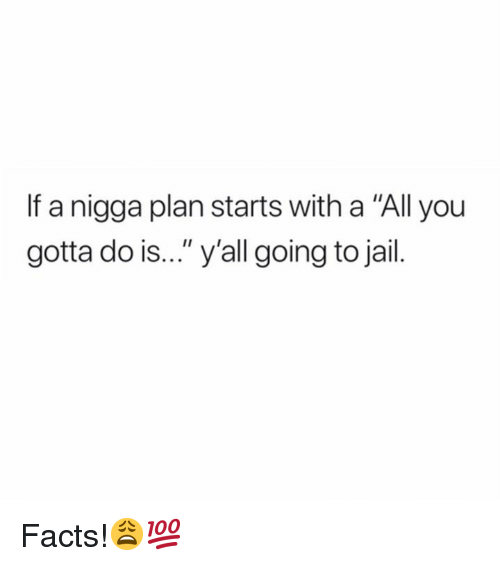 """Going To Jail: If a nigga plan starts with a """"All you  gotta do is..."""" y'all going to jail. Facts!😩💯"""