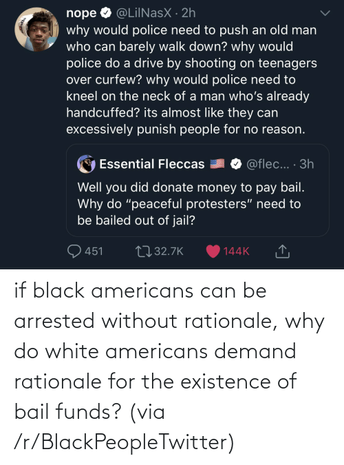R Blackpeopletwitter: if black americans can be arrested without rationale, why do white americans demand rationale for the existence of bail funds? (via /r/BlackPeopleTwitter)