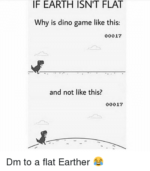 Flat Earther: IF EARTH ISNT FLAT  Why is dino game like this:  00017  and not like this?  00017 Dm to a flat Earther 😂
