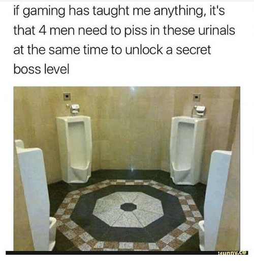 urinals: if gaming has taught me anything, it's  that 4 men need to piss in these urinals  at the same time to unlock a secret  boss level  sunnv.