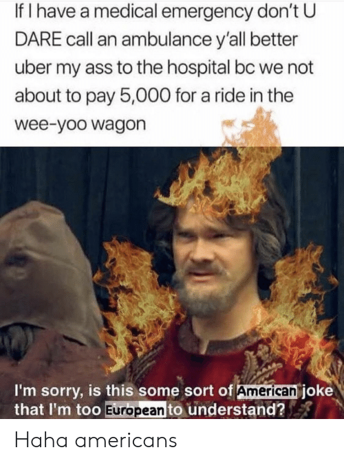 Ass, Sorry, and Uber: If I have a medical emergency don't U  DARE call an ambulance y'all better  uber my ass to the hospital bc we not  about to pay 5,000 for a ride in the  wee-yoo wagon  I'm sorry, is this some sort of American joke  that I'm too European to understand? Haha americans