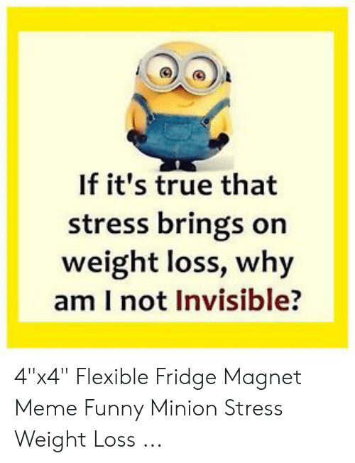 "Funny Stress Memes: If it's true that  stress brings on  weight loss, why  am I not Invisible? 4""x4"" Flexible Fridge Magnet Meme Funny Minion Stress Weight Loss ..."
