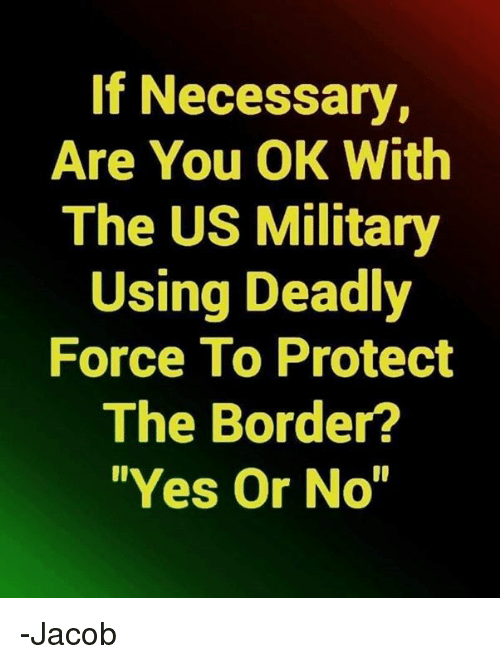 """yes or no: If Necessary,  Are You OK With  The US Military  Using Deadly  Force To Protect  The Border?  """"Yes Or No -Jacob"""