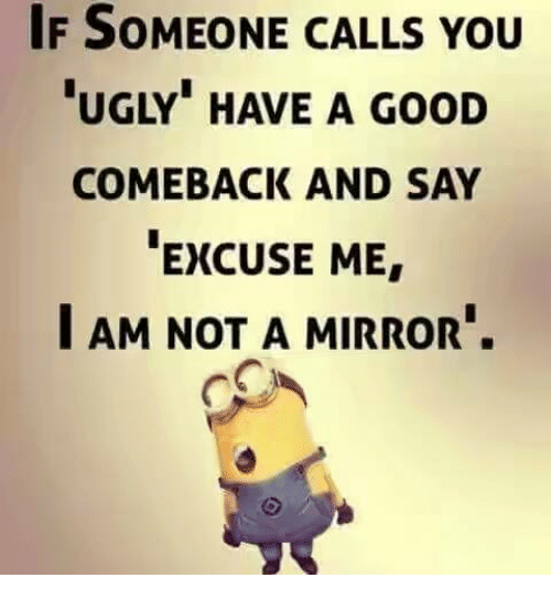 "Good Comeback: IF SOMEONE CALLS YOU  UGLY"" HAVE A GooD  COMEBACK AND SAY  EXCUSE ME  I AM NOT A MIRROR."