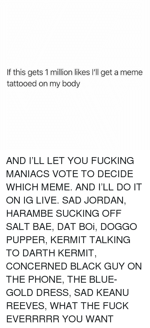 Bae, Fucking, and Meme: If this gets 1 million likes I'll get a meme  tattooed on my body AND I'LL LET YOU FUCKING MANIACS VOTE TO DECIDE WHICH MEME. AND I'LL DO IT ON IG LIVE. SAD JORDAN, HARAMBE SUCKING OFF SALT BAE, DAT BOi, DOGGO PUPPER, KERMIT TALKING TO DARTH KERMIT, CONCERNED BLACK GUY ON THE PHONE, THE BLUE- GOLD DRESS, SAD KEANU REEVES, WHAT THE FUCK EVERRRRR YOU WANT