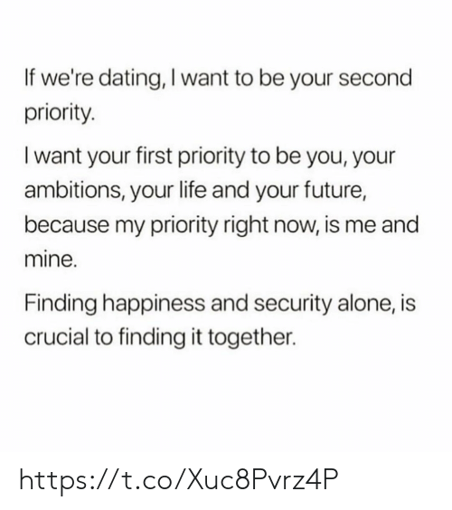 Being Alone, Dating, and Future: If we're dating, I want to be your second  priority  I want your first priority to be you, your  ambitions, your life and your future,  because my priority right now, is me and  mine.  Finding happiness and security alone, is  crucial to finding it together. https://t.co/Xuc8Pvrz4P