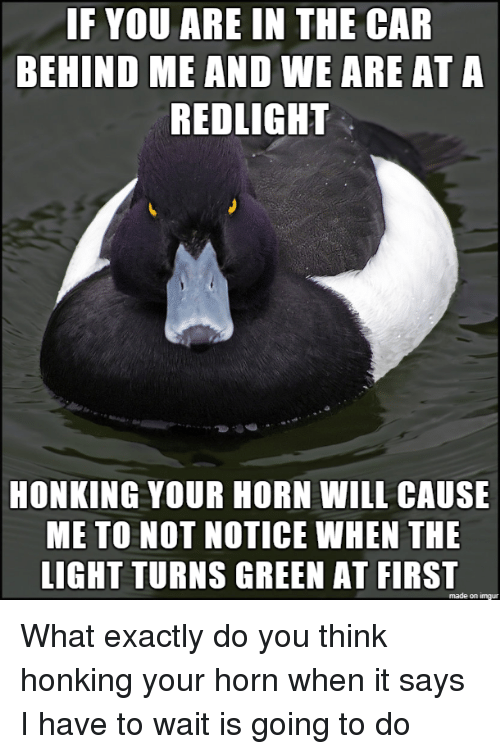 Imgur, Car, and Light: IF YOU ARE IN THE CAR  BEHIND ME AND WE ARE AT A  REDLIGHT  HONKING YOUR HORN WILL CAUSE  ME TO NOT NOTICE WHEN THE  LIGHT TURNS GREEN AT FIRST  made on imgur What exactly do you think honking your horn when it says I have to wait is going to do