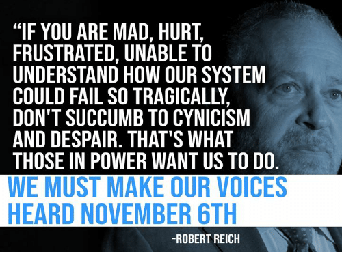 """Fail, Power, and Mad: """"IF YOU ARE MAD, HURT,  FRUSTRATED, UNABLE TO  UNDERSTAND HOW OUR SYSTEM  COULD FAIL SO TRAGICALLY,  DON'T SUCCUMB TO CYNICISM  AND DESPAIR. THAT'S WHAT  THOSE IN POWER WANT US TO DO.  WE MUST MAKE OUR VOICES  HEARD NOVEMBER 6TH  -ROBERT REICH"""
