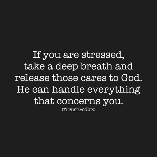 Memes, 🤖, and Deep: If you are stressed,  take a deep breath and  release those cares to God  He can handle everything  that concerns you  Trust, Godbro