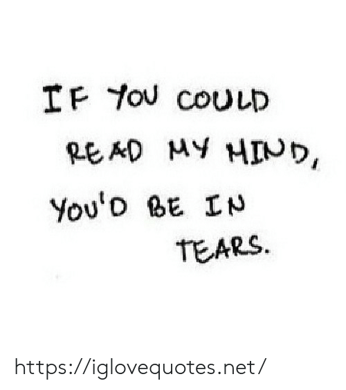 Net, You, and Tears: IF You COULD  MY HINり,  RE AD  You'o BE IN  TEARS https://iglovequotes.net/