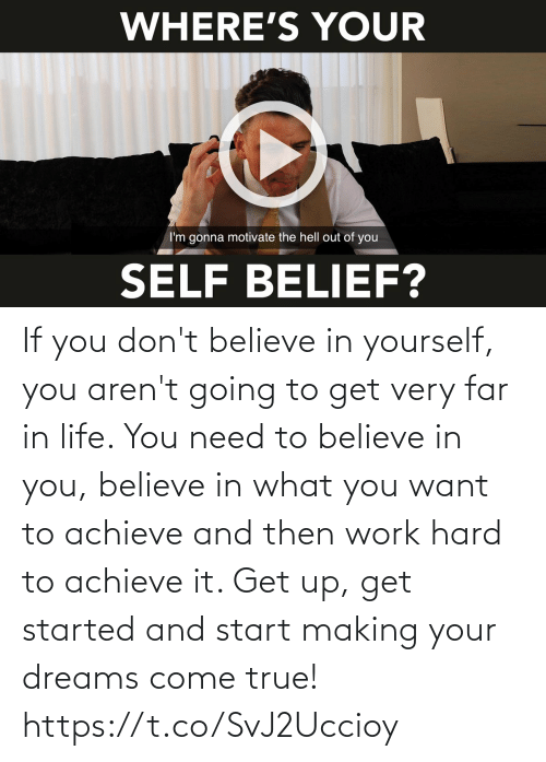 Started: If you don't believe in yourself, you aren't going to get very far in life. You need to believe in you, believe in what you want to achieve and then work hard to achieve it. Get up, get started and start making your dreams come true! https://t.co/SvJ2Uccioy