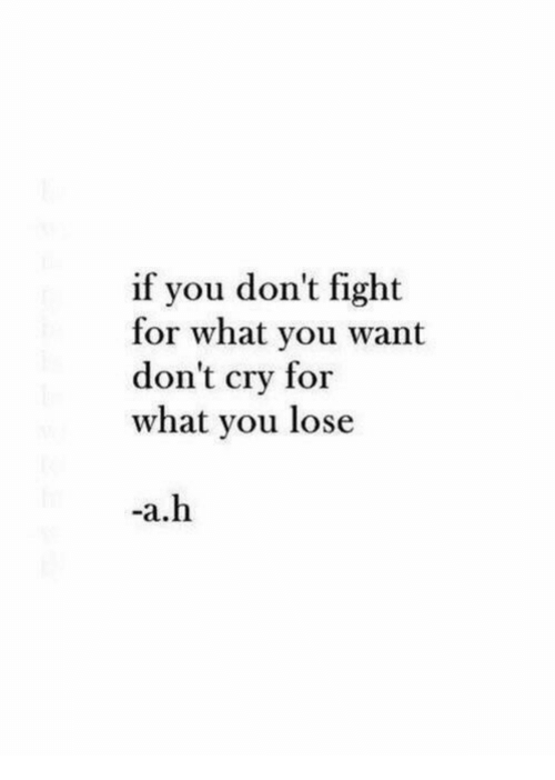 Fight, Cry, and You: if you don't fight  for what you want  don't cry for  what you lose  -a.h