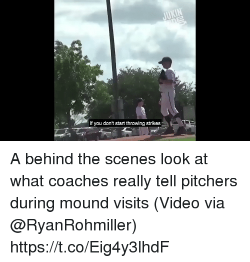 Sports, Video, and Via: If you don't start throwing strikes A behind the scenes look at what coaches really tell pitchers during mound visits  (Video via @RyanRohmiller) https://t.co/Eig4y3lhdF