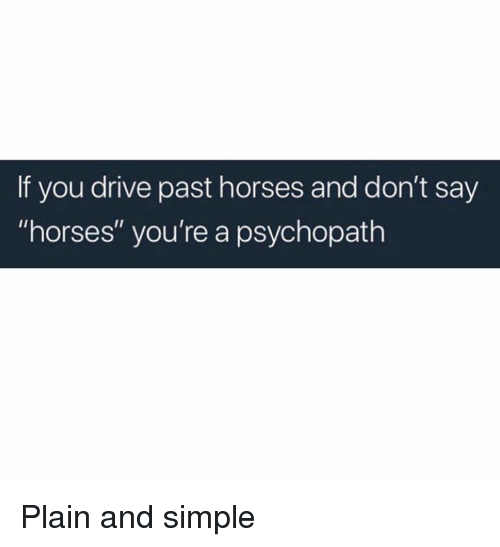 """plain-and-simple: If you drive past horses and don't say  """"horses"""" you're a psychopath Plain and simple"""
