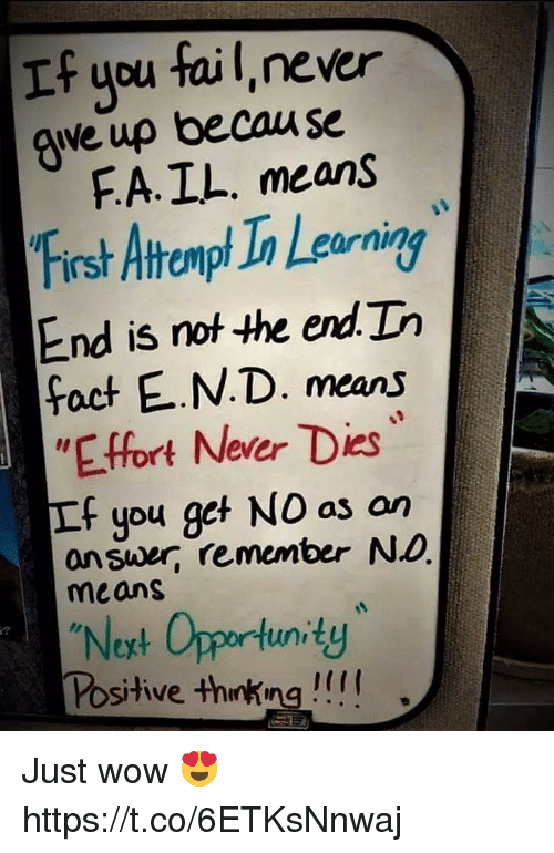 Fail, Wow, and Opportunity: If you fail,never  ave up becau se  FA.IL. means  First Atromp Ia Leaorning  End is not he end.Th  fact E.N.D. means  EFfort Never Dies  If you get NO as on  answer, remember NO  means  2  Noxt Opportunity  Positive thinking !! Just wow 😍 https://t.co/6ETKsNnwaj