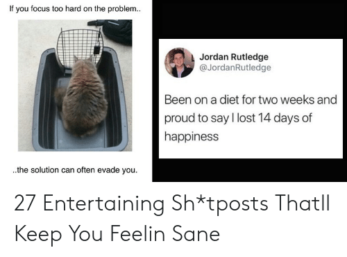 Lost, Focus, and Jordan: If you focus too hard on the problem..  Jordan Rutledge  @JordanRutledge  Been on a diet for two weeks and  proud to say lost 14 days of  happiness  the solution can often evade you 27 Entertaining Sh*tposts Thatll Keep You Feelin Sane