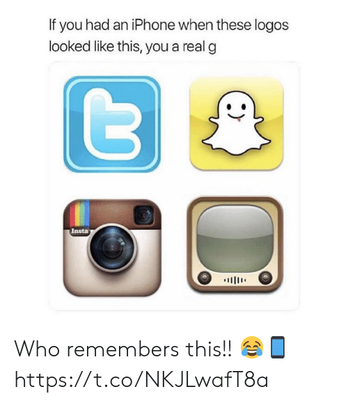 Iphone, Logos, and Who: If you had an iPhone when these logos  looked like this, you a real g  Insta  川111' Who remembers this!! 😂📱 https://t.co/NKJLwafT8a