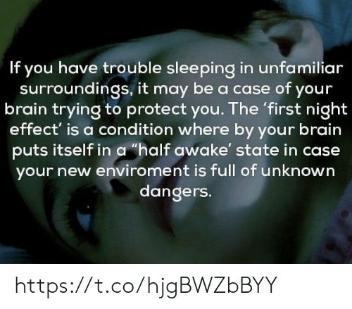 """Sleeping In: If you have trouble sleeping in unfamiliar  surroundings, it may be a case of your  brain trying to protect you. The 'first night  effect' is a condition where by your brain  puts itself in a """"half awake' state in case  your new enviroment is full of unknown  dangers. https://t.co/hjgBWZbBYY"""