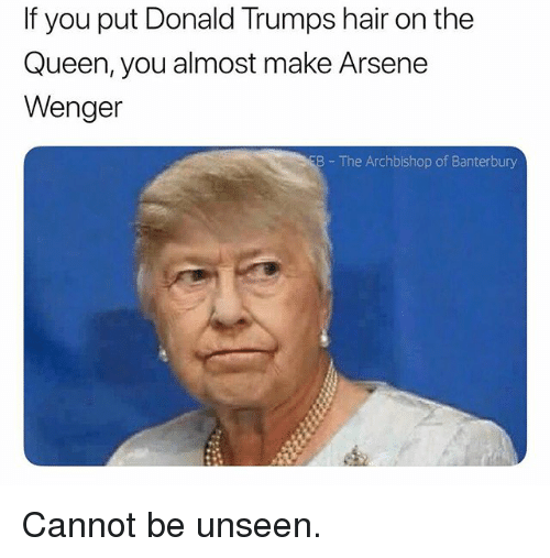 Donald Trumps: If you put Donald Trumps hair on the  Queen, you almost make Arsene  Wenger  B The Archbishop of Banterbury Cannot be unseen.