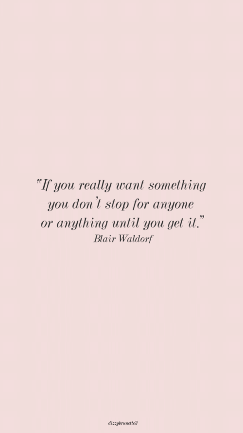Dont Stop: If you really want something  you don't stop for anyone  or anything until you get it.  Blair Waldorf  dizzybrunctteg