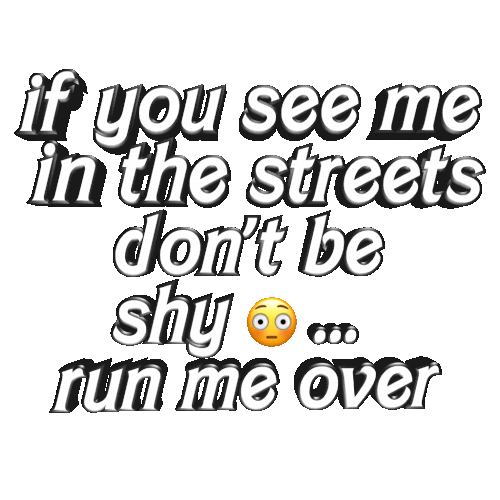 Run, Streets, and The Streets: if you see me  in the streets  don't be  shy  run me over
