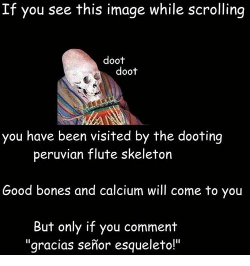 Esqueleto: If you see this image while scrolling  doot  doot  you have been visited by the dooting  peruvian flute skeleton  Good bones and calcium will come to you  But only if you comment  gracias senior esqueleto!