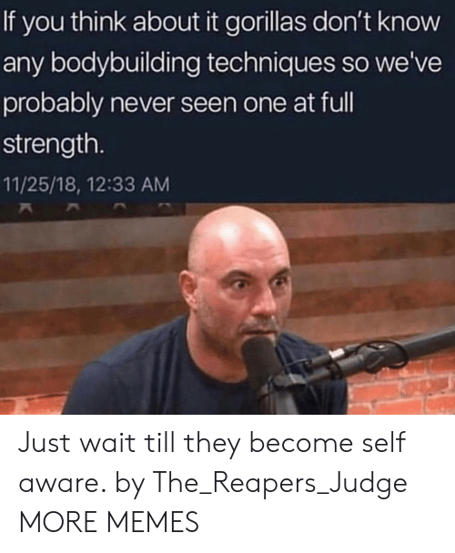 Bodybuilding: If you think about it gorillas don't know  any bodybuilding techniques so we've  probably never seen one at ful  strength.  11/25/18, 12:33 AM Just wait till they become self aware. by The_Reapers_Judge MORE MEMES
