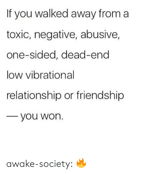 Tumblr, Blog, and Http: If you walked away from a  toxic, negative, abusive,  one-sided, dead-end  low vibrational  relationship or friendship  you won. awake-society:  🔥