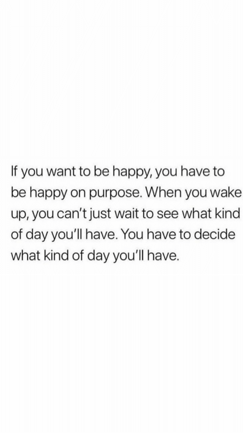 Happy, Be Happy, and Day: If you want to be happy, you have to  be happy on purpose. When you wake  up, you can't just wait to see what kind  of day you'll have. You have to decide  what kind of day you'll have.